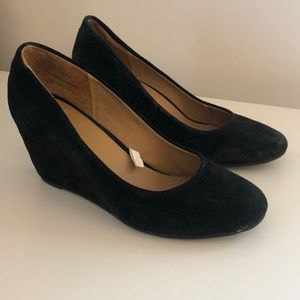Merona black suede wedges from Target